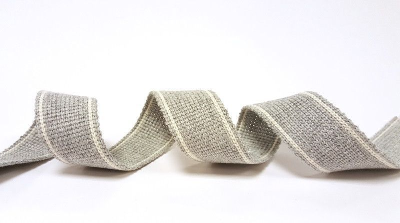 34mm Grey 2-Stripe Cotton Blend Heavy Weight Webbing