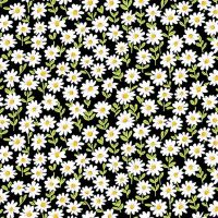Makower Sunny Bee Black Flower Cotton Fabric