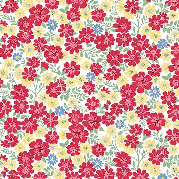 Makower Strawberry Jam Flowerful Vines White Cotton Fabric