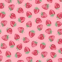 Makower Strawberry Jam Strawberry Pink Cotton Fabric