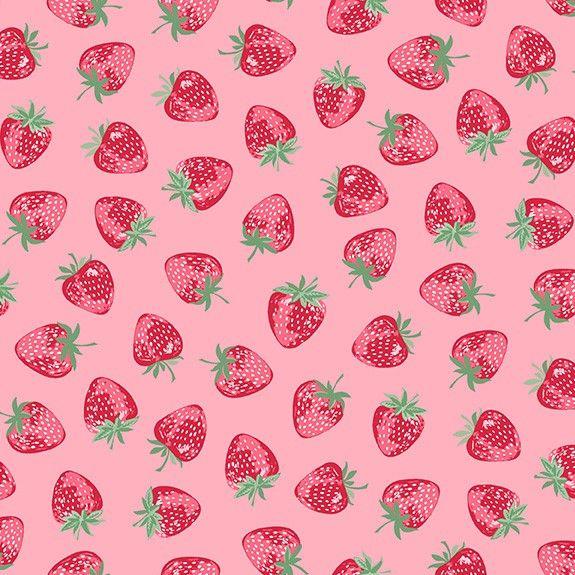 Makower Strawberry Jam Strawberry Pink Cotton Fabric