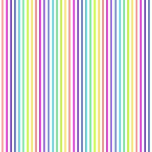 Makower Rainbow Stripes White Cotton Fabric
