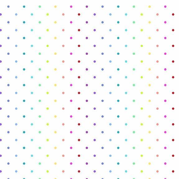 Makower Rainbow Swiss White Cotton Fabric