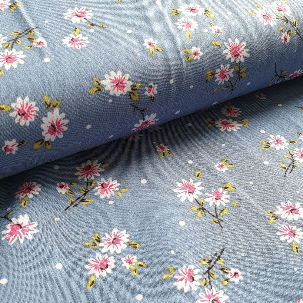 Printed Stretch Floral Denim Fabric Rayon Fabric