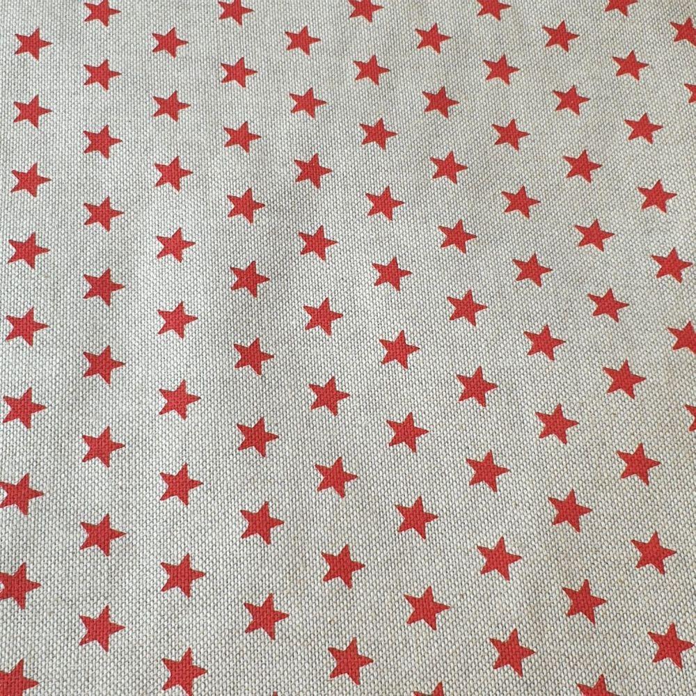 Red Stars Cotton Canvas Fabric