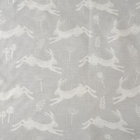 Oilcloth Cotton Fabric Hares Grey