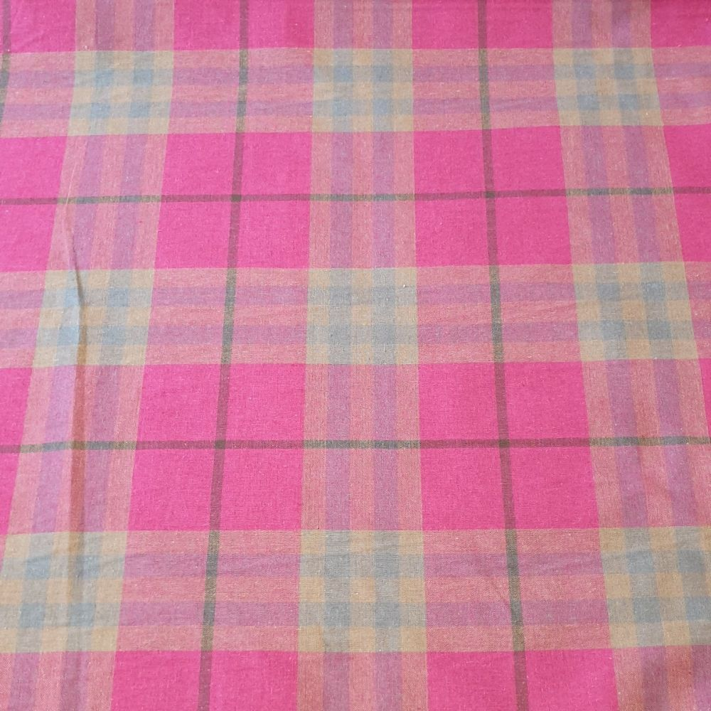 Pink Tartan Canvas Fabric