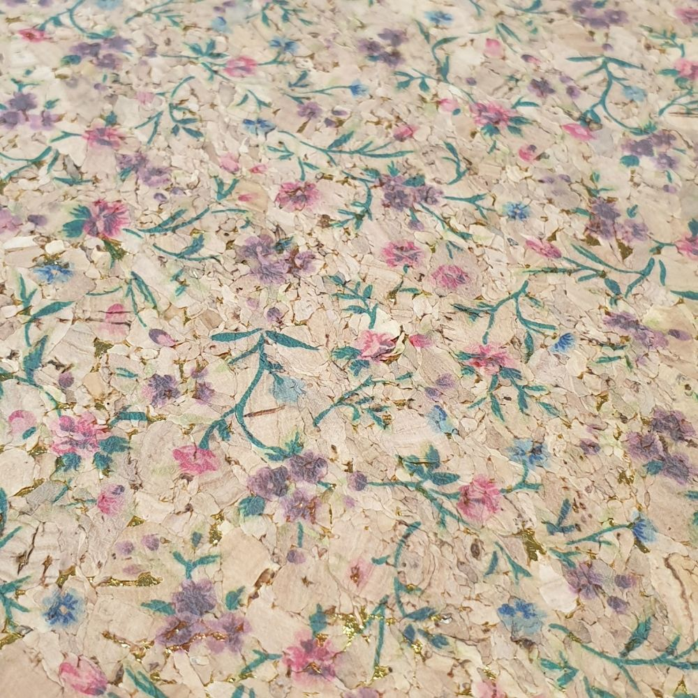 Floral Printed Cork Fabric
