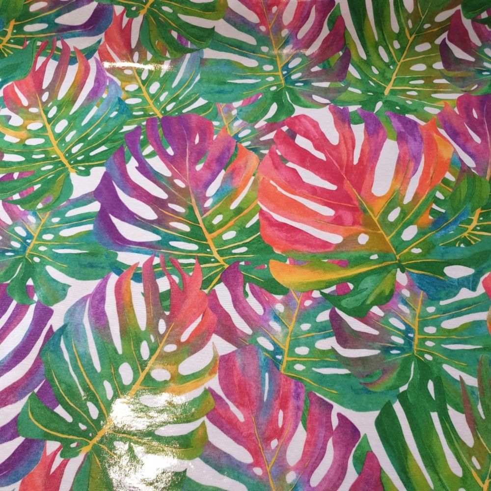 Oilcloth Fabric Tropical Leaves