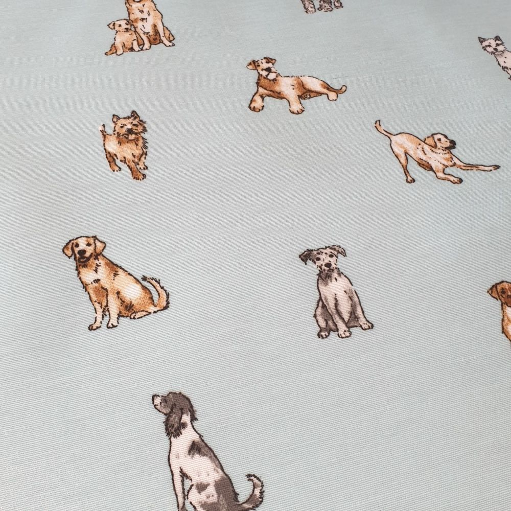 OilCloth Fabric Dogs On Blue
