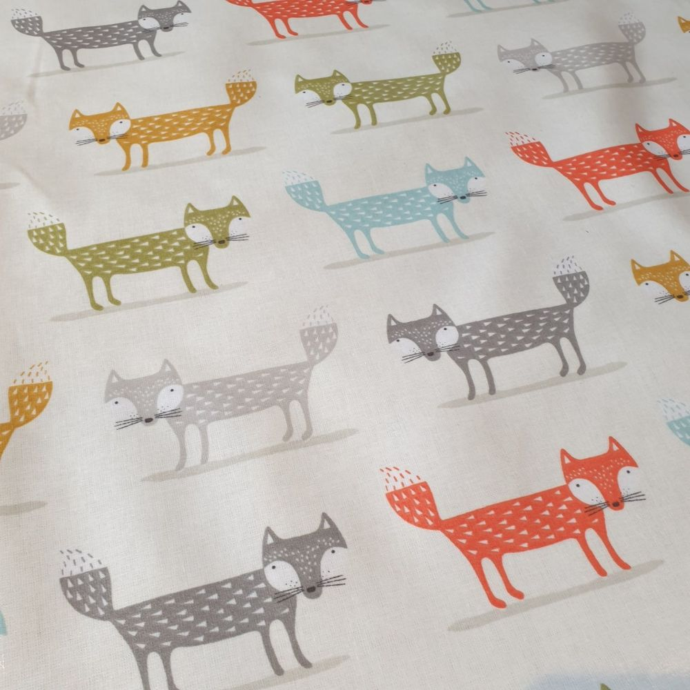 OilCloth Fabric Foxes