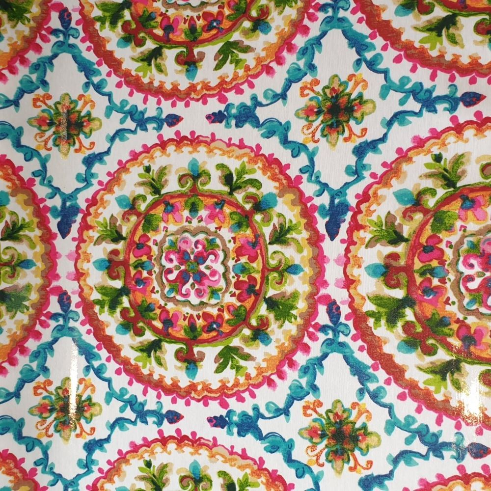 OilCloth Fabric Bright Paisley