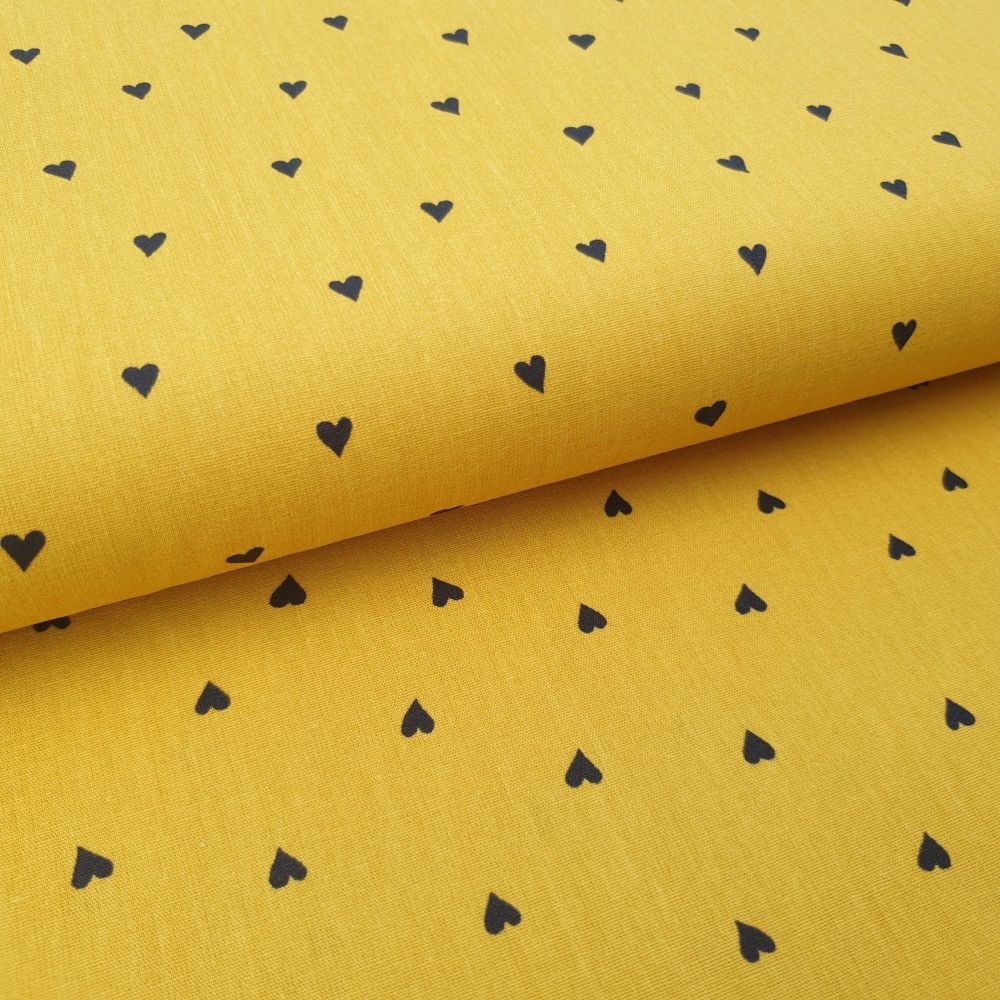 Mustard Hearts Cotton Fabric