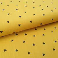 Brushed Mustard Hearts Cotton Fabric