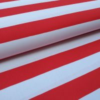 Red/White Stripes Cotton Fabric