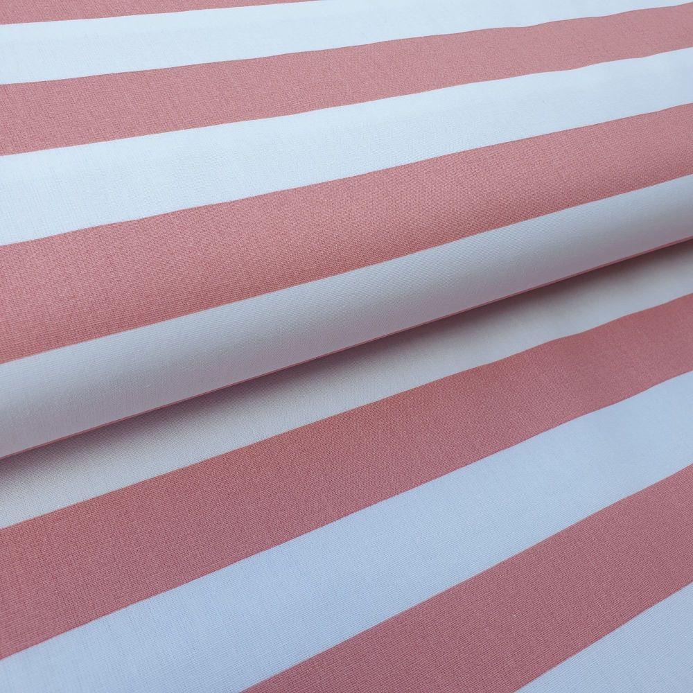 Pink/White Stripes Cotton Fabric
