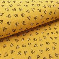Double Gauze Mustard Hearts