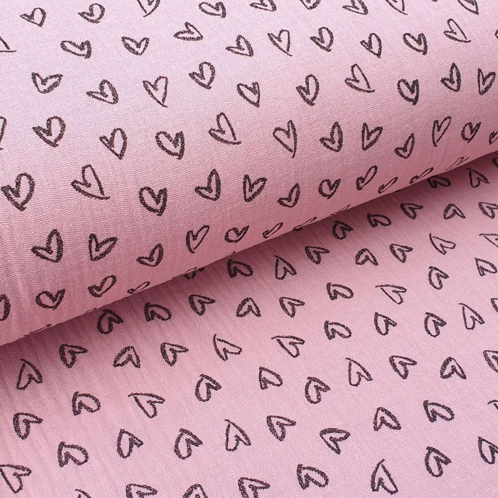 Double Gauze Pink Hearts