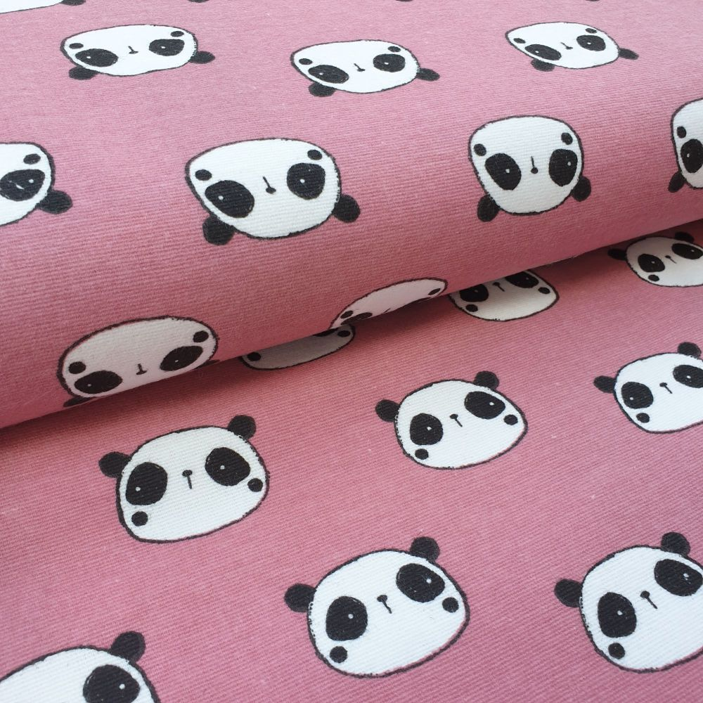 Pink Panda Flannel Cotton Fabric