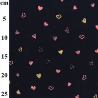 Babycord Glitter Gold Hearts Navy Fabric