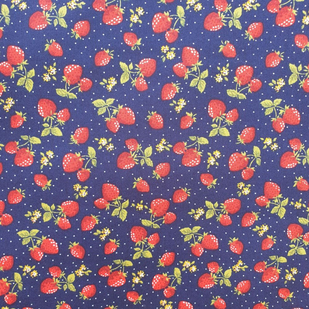 Cotton Poplin Fabric Stawberries Navy