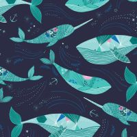 Dashwood Studio Into The Blue Cotton Fabric Narwhal