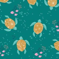 Dashwood Studio Into The Blue Cotton Fabric Turtles