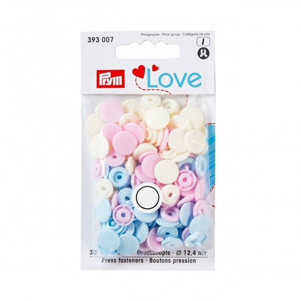 Prym Love Snap Fasteners 12.4mm 30pcs Pastels