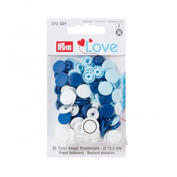 Prym Love Snap Fasteners 12.4mm 30pcs Navy/White/Blue