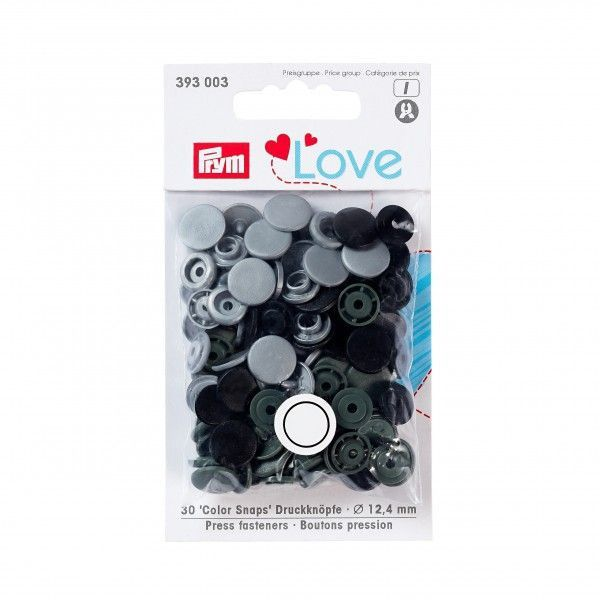 Prym Love Snap Fasteners 12.4mm 30pcs Black/Grey