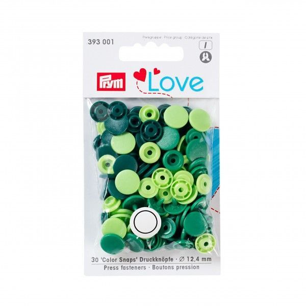 Prym Love Snap Fasteners 12.4mm 30pcs Greens