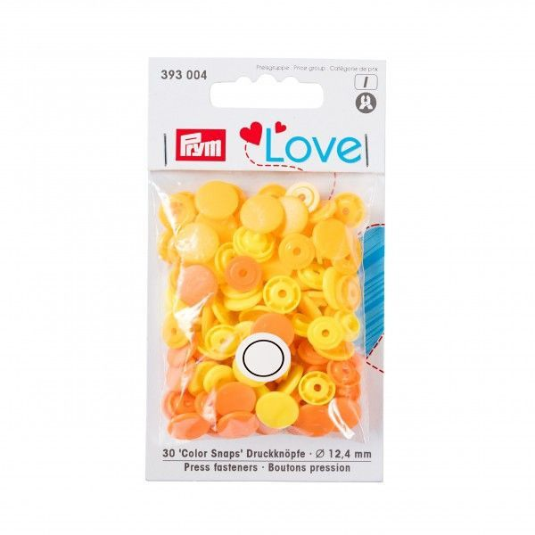 Prym Love Snap Fasteners 12.4mm 30pcs Orange/Yellow
