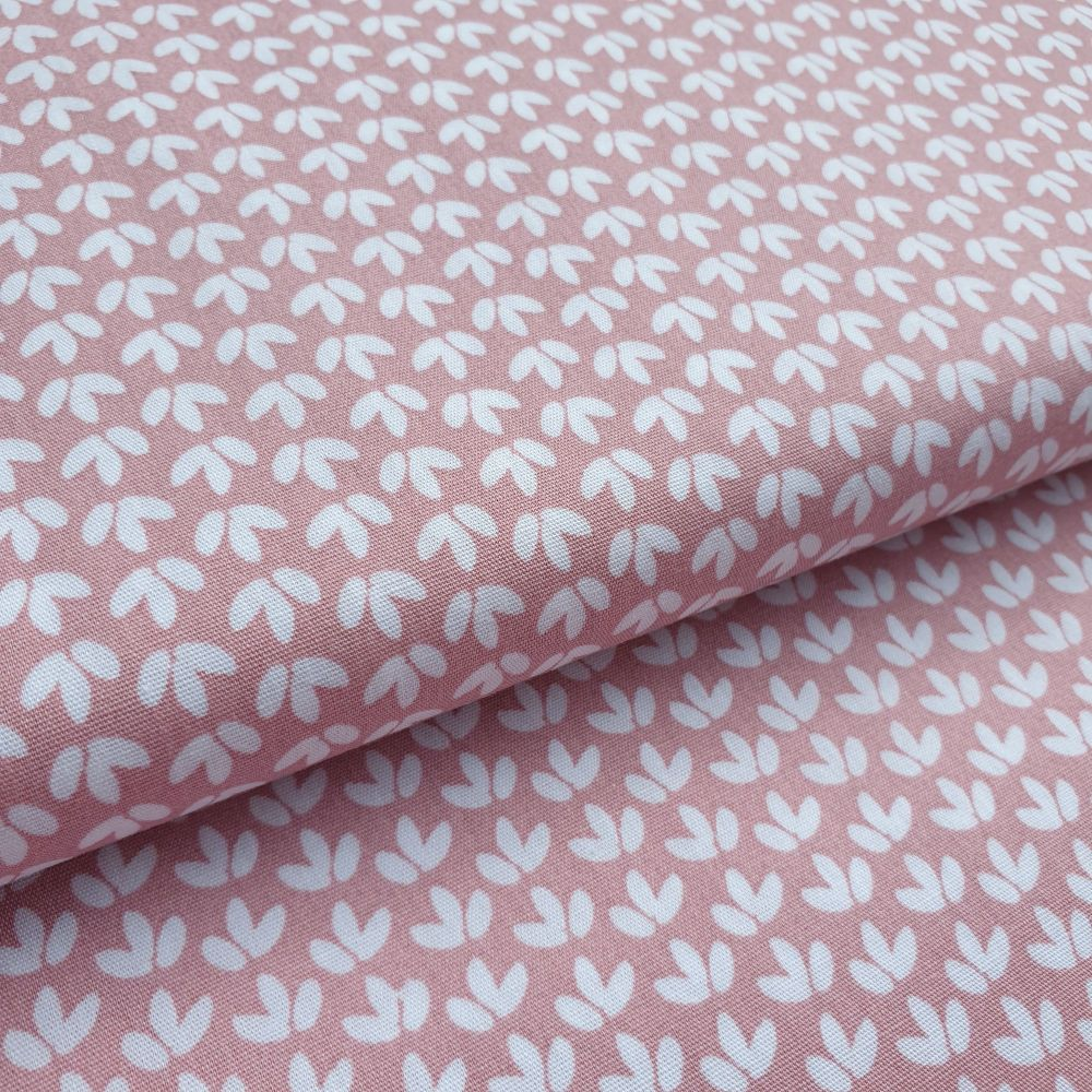 White Leaves on Pink Cotton Fabric