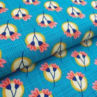 Retro Flowers Teal Cotton Fabric