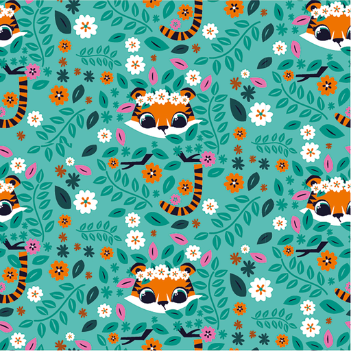 Cotton Jersey Fabric Tiger Faces