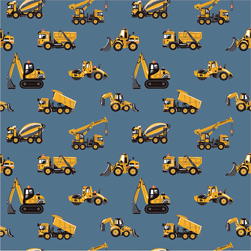 Cotton Jersey Fabric Diggers On Navy