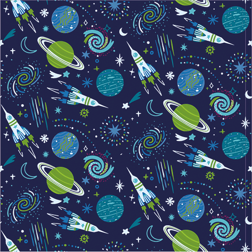 Cotton Jersey Fabric Space Rockets