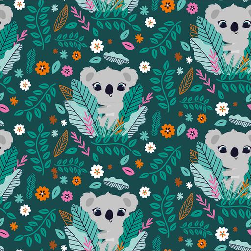 Cotton Jersey Fabric Cute Koalas