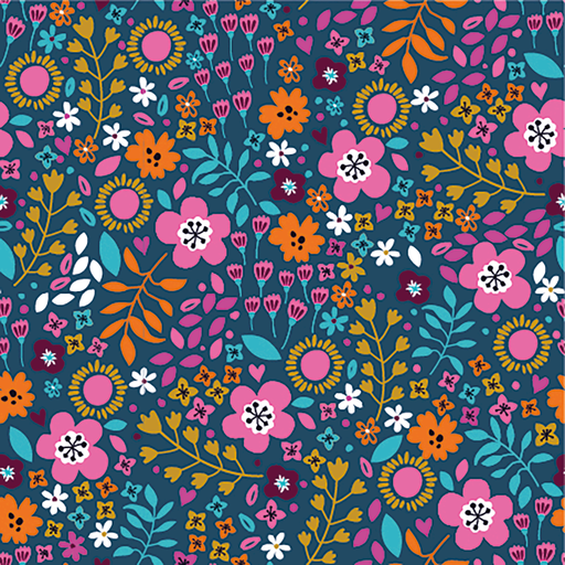 Cotton Jersey Fabric Flowers Navy