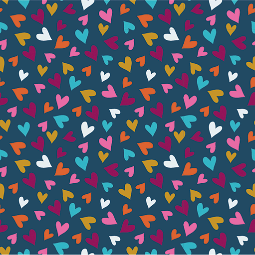 Cotton Jersey Fabric Hearts Navy