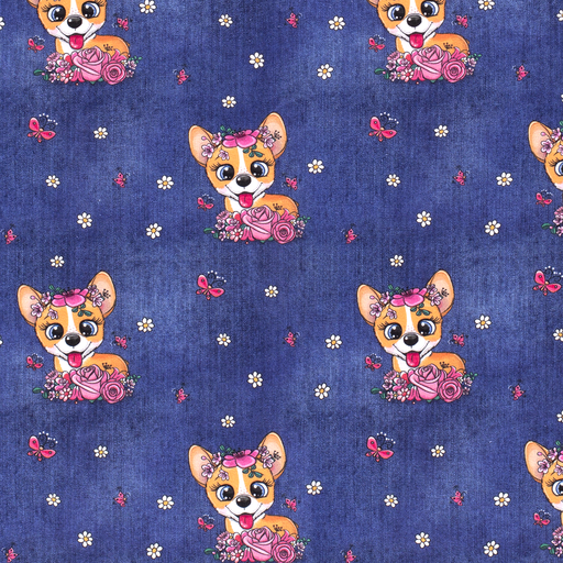 French Terry Fabric Cute Dogs