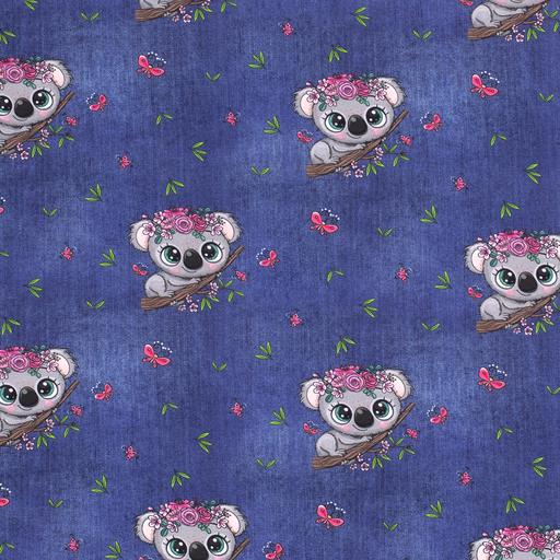 Cotton Jersey Fabric Denim Look Koala Bears