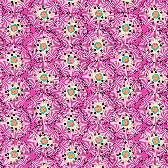Makower Reef Cotton Fabric Urchin Pink