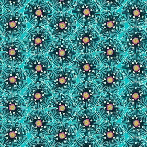 Makower Reef Cotton Fabric Urchin Turquoise