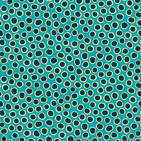 Makower Reef Cotton Fabric Fish Spot Turquoise
