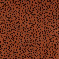 Viscose Fabric Leopard Print Rust Brown