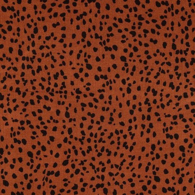 Viscose Fabric Leopard Print Rust Brown