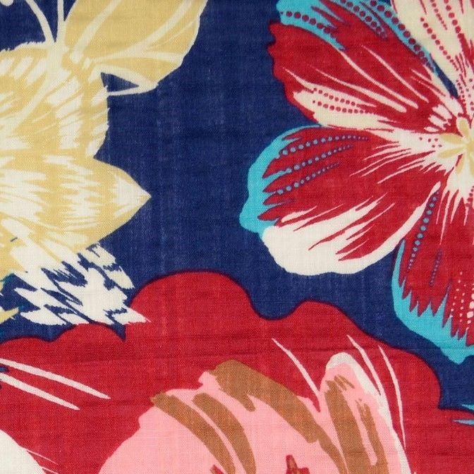 Cotton Viscose Mix Fabric Big Florals Blue