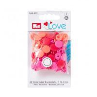 Prym Love Snap Fasteners 12.4mm 30pcs Red/Orange/Pink