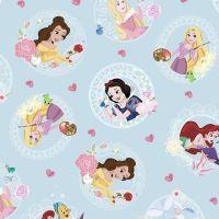 Disney Little Johnny Cotton Fabric Princess Love Hearts